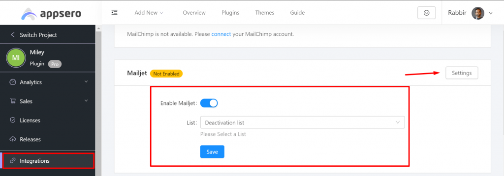 Mailjet integration