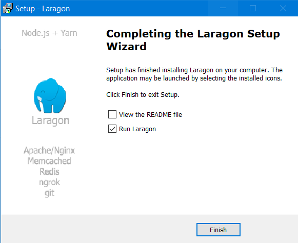 Completing the Laragon setup Wizard
