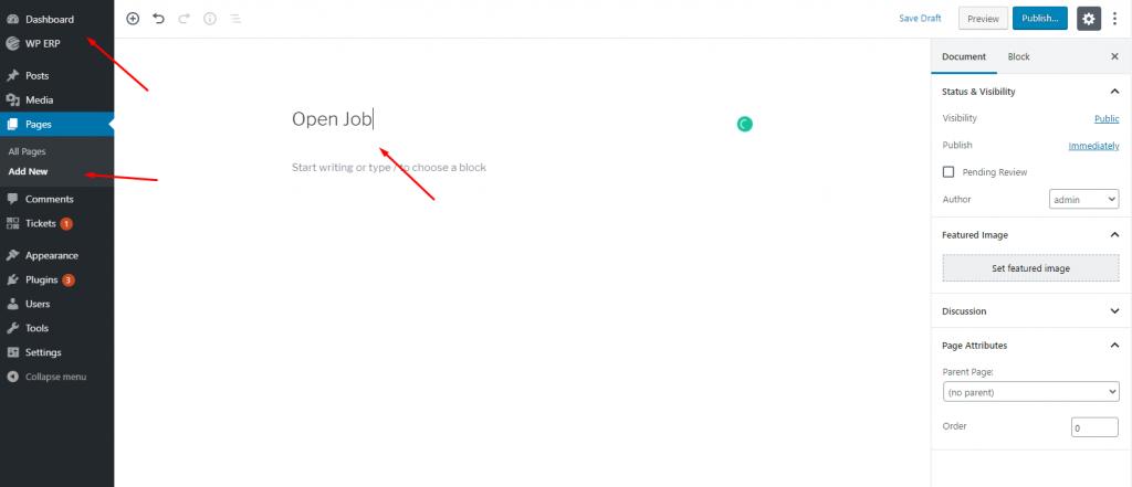 Create a job page