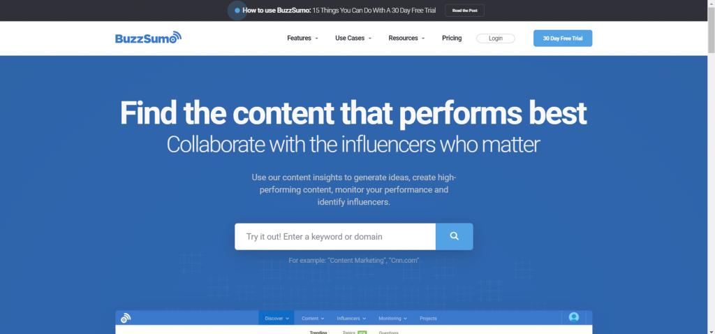 online media brand monitoring tools - BuzzSumo