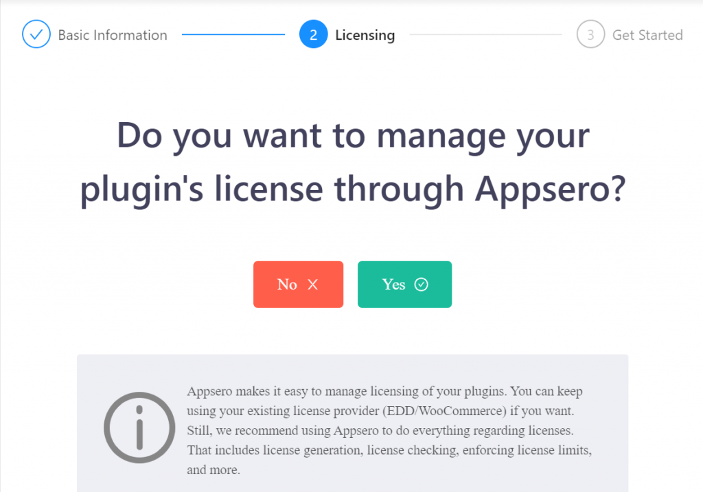 handle license by Appsero or not