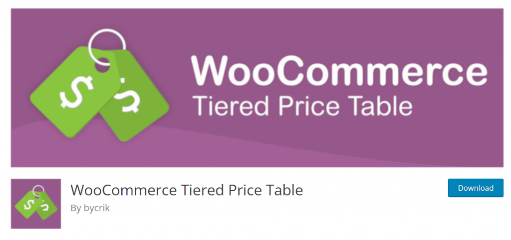 WooCommerce pricing table