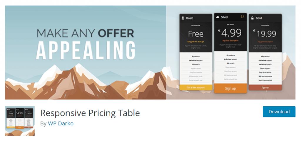 darko- wordpress pricing table plugin