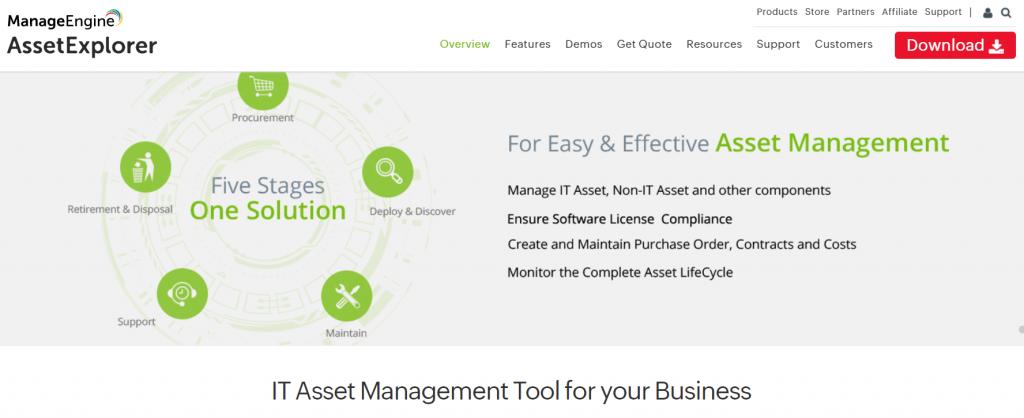 ManageEngine asset explorer license tracking software