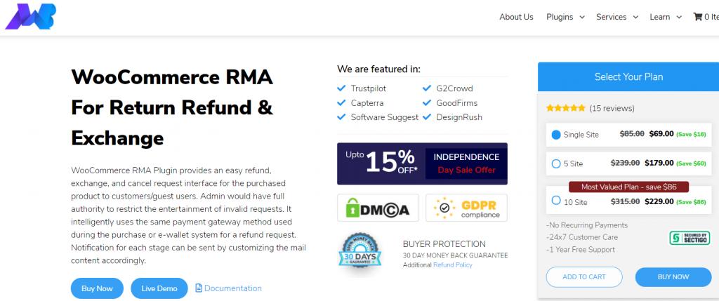 woocommerce rma for return refund exchange