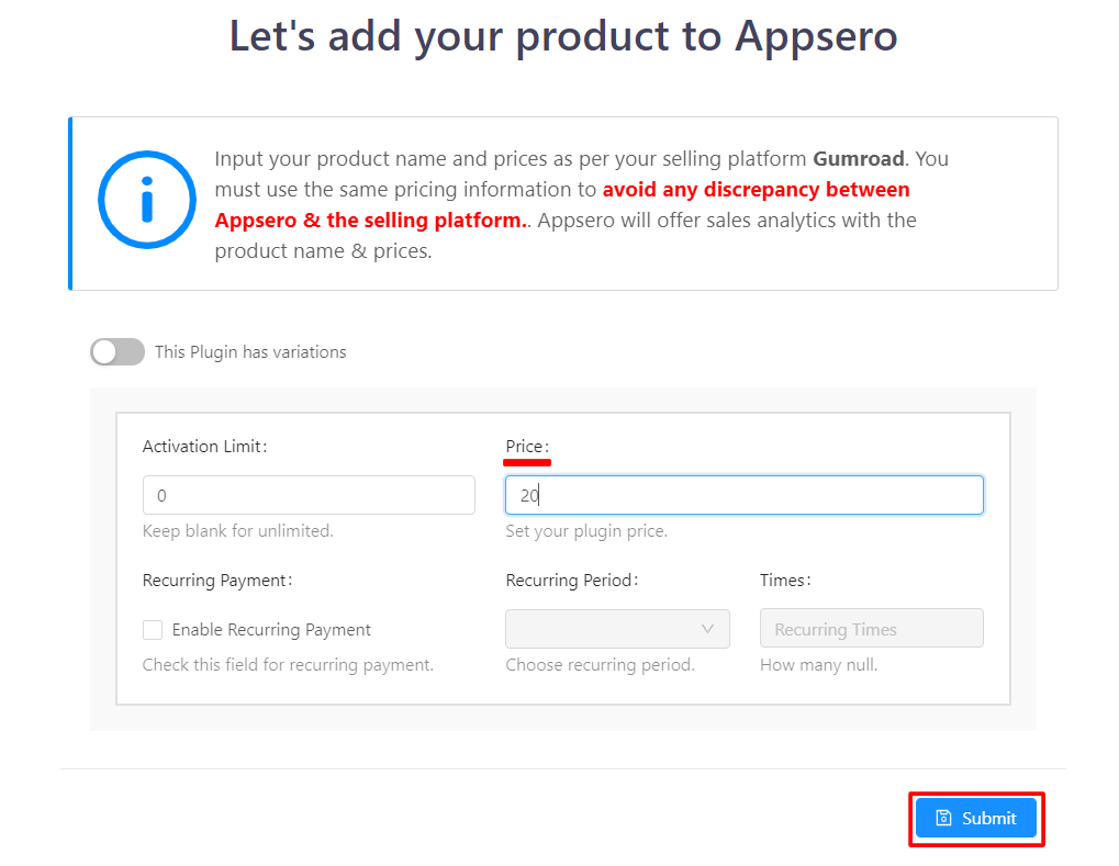 set price in Appsero