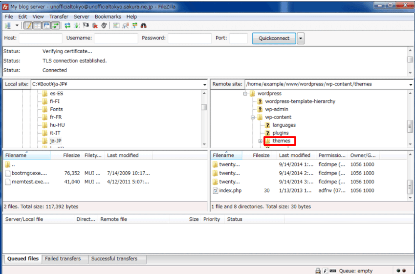 Log in to your site via FileZilla