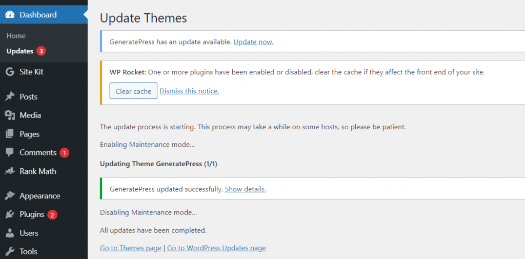 theme updated successfully